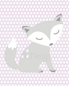 Purple and Gray Fox/Woodland Polka Dot Print  8x10 by LJBrodock, $10.00 Pottery Barn Friendly Fox, Pottery Barn Bailey, Girl's Fox Bedroom, Girl's Woodland Bedroom, Fox Nursery, Nursery Decor, Nursery Prints