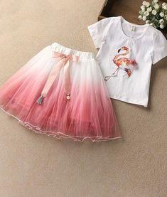 Cute Girls Summer Flamingo 2pcs T-Shirt Skirt Set