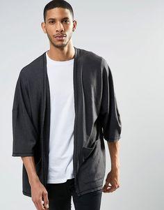 ASOS Oversized Acid Wash Jersey Kimono Cardigan