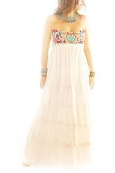 LOVE!!   Corazon Mexicano hand embroidered layered maxi wedding dress from Aida Coronado