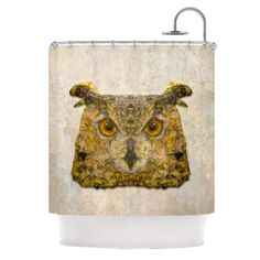 "Kess InHouse Ancello ""Abstract Owl"" Brown Shower Curtain"