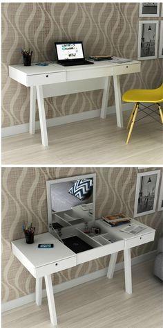 Diy Makeup Room Decor Home Office 27 Ideas For 2019 Home Office Decor, Diy Home Decor, Desk Office, Diy Casa, New Room, Home Organization, Room Inspiration, Furniture Design, Bedroom Decor