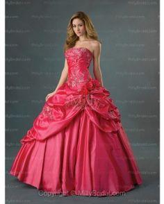 BallGown Strapless Taffeta Floor-length Red Quinceanera Dress