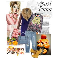 How do you style ripped jeans? Ripped Denim, Von Furstenberg, Your Style, Zara, Polyvore, Color, Fashion, Moda, La Mode
