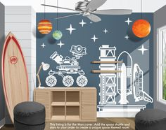A Mars rover out exploring vinyl decal. For an outer space kids bedroom. Wall Texture Types, Boy Girl Bedroom, Childs Bedroom, Boy Rooms, Outer Space Bedroom, Space Theme, Room Themes, Vinyl Wall Decals, Playroom