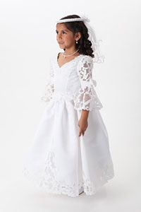 Flower Girl Dresses - Girls Dress Style 6004 - WHITE Satin Dress with Juliet Sleeves and Beaded Embroidery