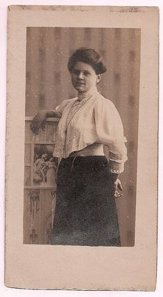 German woman, vintage real photo postcard