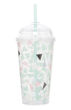 Primark - Gabriella Mint And Pink Cup With Straw Tumblers, Cute Water Bottles, Cup With Straw, Tumbler With Straw, Pink Cups, Cute Cups, Starbucks Tumbler, Tumbler Cups, Bottle Design