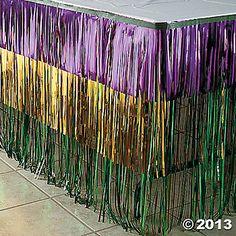 Mardi Gras Fringe Table Skirt
