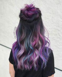 Cute Hair Colors, Pretty Hair Color, Hair Dye Colors, Dyed Hair Blue, Dyed Hair Pastel, Purple Hair, Headband Hairstyles, Pretty Hairstyles, Underlights Hair