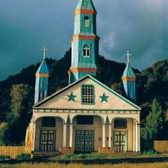 one of the over one hundred churches of Chiloe island, Chile via Lucy @ Patina Paradise Island Holidays, Home Temple, Travel Around The World, Around The Worlds, Old Churches, Catholic Churches, Cathedral Church, Church Building, Place Of Worship