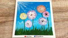 Colorful Dandelion   Easy Technique to Paint Dandelion Flowers Acrylic P... Dandelion Flower, Painting & Drawing, Beach Mat, Outdoor Blanket, Joy, Colorful, Drawings, Flowers, Glee