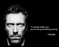 """If nobody hates you, you're doing something wrong.""""  House"""