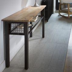 Console en bois et métal avec étagère grillagée noire Square