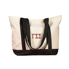 The perfect beach bag, fill this embroidered tote with all of your summer essentials, including your favorite greek clothing. Letter colors are customisable, so get them in your favorite or in your sorority's colors. Alpha Phi Sorority, Gamma Sigma Sigma, Wholesale Tote Bags, Boat Bag, Branded Tote Bags, Sorority Outfits, Canvas Tote Bags, Tote Handbags, Cotton Tote Bags