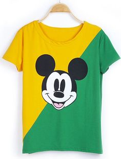 Yellow Green Short Sleeve Mickey Print T-Shirt pictures