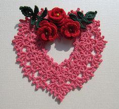 Irish Crochet Heart Ornament by Annie Potter www.flickr.com