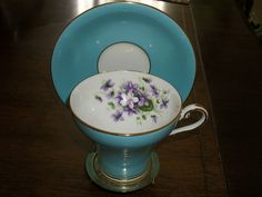 Aynsley corset style turquoise blue gold violets teacup and saucer England WOW! | eBay