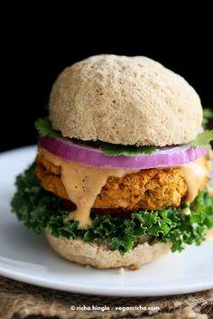 Sweet Potato Peanut Burgers. Vegan Recipe - Vegan Richa