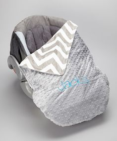 Take a look at this Silver Chevron Personalized Car Seat Blanket by Lolly Gags on #zulily today!