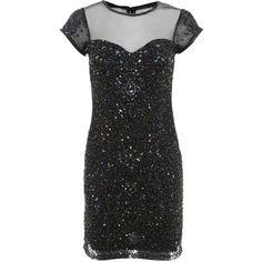Miss Selfridge Black Mia Sweetheart Dress ($61) ❤ liked on Polyvore