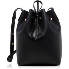 Mansur Gavriel Mini Leather Bucket Bag (8,790 MXN) ❤ liked on Polyvore featuring bags, handbags, shoulder bags, black, real leather handbags, leather handbags, mini handbags, miniature purse and genuine leather purse