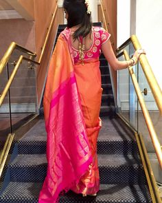Indian Silk Wedding Saree Orange and Pink Pattu Designer Blouse