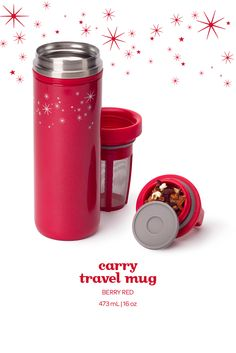 This festive red leakproof travel mug keeps your tea hot for hours on end.