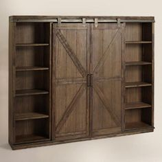 A substantial storage solution with adjustable and removable shelving, our bookshelf is crafted of distressed solid wood with rustic metal accents that give it the look of an old barn door. Easy Diy Projects, Home Projects, Furniture Plans, Diy Furniture, Country Furniture, Furniture Storage, Barn Door Bookcase, Barn Door Tv Cabinet, Bookcase Closet