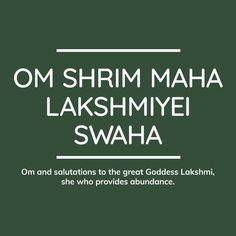 Om Shrim Maha Lakshmiyei Swaha — Sanctuary is Sanskrit Quotes, Sanskrit Mantra, Vedic Mantras, Yoga Mantras, Hindu Mantras, Sanskrit Words, Spiritual Stories, Spiritual Images, Spiritual Beliefs