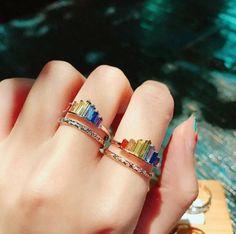 #rainbowrings #rainbowjewelry #aestheticjewelry #aestheticrings