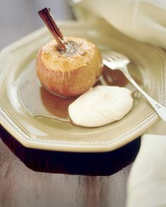 These baked apples are tender and sweet, especially on a cold night.