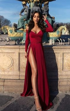 A-Line Off-the-Shoulder Long Sleeves Burgundy Elegant Prom Dress with Split Prom Dress, A-Line Prom Dress, Long Sleeves Prom Dress, Burgundy Prom Dress Prom Dresses 2020 Split Prom Dresses, Pretty Prom Dresses, Elegant Prom Dresses, Prom Dresses Long With Sleeves, Gala Dresses, Satin Dresses, Beautiful Dresses, Evening Dresses, Dress Prom