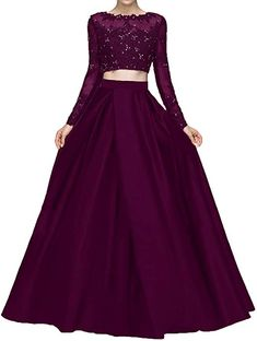 Bonnie Beaded Lace Bodice Two Piece Prom Dresses 2018 Long Sleeves Evening Party Ball Gowns Long Gown Dress, Lehnga Dress, Prom Dresses Long With Sleeves, Wedding Dresses For Girls, Party Wear Dresses, Dress Prom, Formal Dresses, Indian Bridal Outfits, Indian Designer Outfits