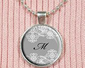 Glass Letter Charm, Custom Initial - Lace Pattern, White Lace Charm, Lacy, Lacey Jewelry, Gray, Black and White