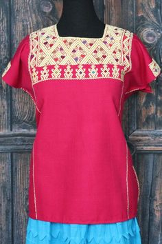 Raspberry Pink & Cream Huipil Larrainzar, Chiapas Mexico, Hand Woven Mayan Women #Handmade #Huipiltunic