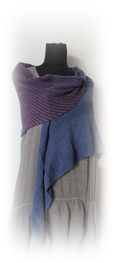 New Autumn Collection asymmetrical shawl in blue by Taschenatelier