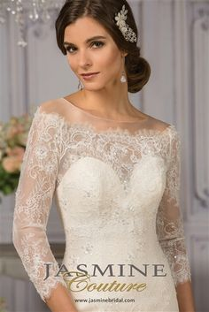 Long Sleeve #Wedding Dress 2016 Chantilly Lace and Tulle Over Satin Fit & Flare Mermaid Gown with an Illusion Boat Neckline with Off Shoulder Scalloped Lace Over Sweetheart Interior, Illusion Lace 3/4 Sleeves, Lace Fitted Bodice Past Hips, Lace Flared Mermaid Skirt with Scalloped Lace Hemline, Chapel Train, Illusion Lace Back with Covered Buttons. #laceweddingdresses #offshoulderwedding #longsleevewedding #mermaidweddingdresses #2016weddingdresses #lacebackweddingdresses #fitandflare