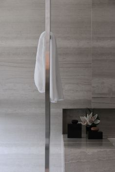 """Giorgio Armani himself has long been a fan of Silk Georgette®, the stone he describes as """"the perfect greige"""" and, as with many of his fashion stores, it was chosen by his design team for the Armani Hotel in Milan. The project to decorate the bathrooms in Silk Georgette® required almost 7000 square metres of Silk Georgette® and is a great example of Salvatori total look, with not only the floors and walls featuring the material, but also the bathtubs and cabinets. Designer: Armani Design…"""