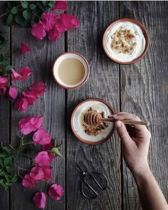 Honey, Greek Yogurt, and walnuts – a yummy and healthy way to start your day! Cooking With Honey, Tasting Table, Greek Words, Food 52, Greek Yogurt, Superfoods, Food Styling, Latte, Artisan