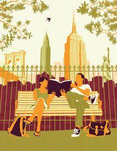 couple reading - Neil Webb graphic illustration