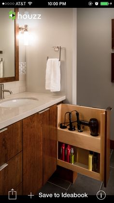 Bathroom storage, organization via Houzz looks better than my other ideas.