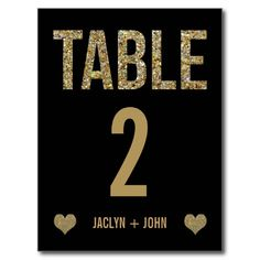 Black & Gold Glitter Wedding Table Number Postcard