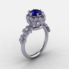 Naturen Nouveau 950 Platin Blue Saphir Diamond Flower