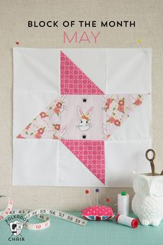 The May Block of the Month in the Polka Dot Chair Quilt Block series, a free tutorial to make a Friendship Star Quilt Block | Fabric: Wonderland designed by Melissa Mortenson for Riley Blake Designs #iloverileyblake #fabricismyfun