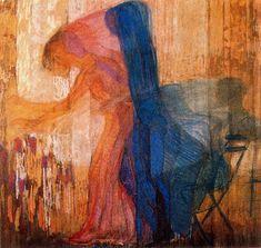 'Woman Picking Flowers', Pastel by Frantisek Kupka Czech Republic) Kandinsky, Mondrian, Frantisek Kupka, Georges Pompidou, Francis Picabia, Georges Braque, Art Database, Art Moderne, Reproduction