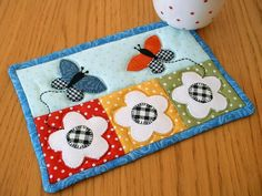 (7) Name: 'Quilting : Butterfly Mug Rug