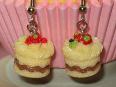 Miniature Cake Dangle Earrings Lolita Sweet Deco by JadeDumpling, $7.00