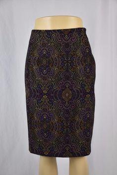 16.93$  Watch here - http://viuoy.justgood.pw/vig/item.php?t=qr6fh747249 - Briggs Womens Petite 6P Dark Purple Paisley Mid Calf Skirt Lined 16.93$