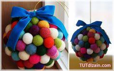 Идея яркого новогоднего шарика » Планета рукоделия